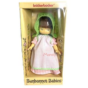 "Vintage 1975 Knickerbocker Sunbonnet Babies 7"" Mandy Doll New With Box #9855"