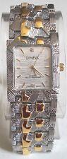 Men's Gold/silver Finish Silver Dial Nugget style bracelet fashion Dressy watch