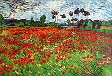 Van Gogh Field with Poppies Repro, Quality Hand Painted Oil Painting, 24x36in