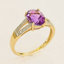 NATURAL AMETHYST RING GENUINE DIAMONDS REAL 9K GOLD SIZE N FEBRUARY BIRTHSTONE
