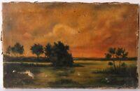 Tableau Peinture Ancienne Huile sur Toile signé, Paysage, Coucher Soleil