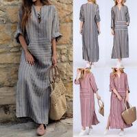 Plus Size S-5XL Boho Womens Maxi Dress Long Sleeve Summer Long Beach Sundress