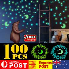 7 Moon & 100 Star Night Light Glow In The Dark Wall Decal Ceiling Sticker Decor