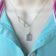 Ophthalmologist Glasses & Eye Chart Handcrafted Silver Lariat Style Y Necklace