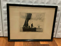 Antique Gordon Grant Signed Etching Fishing Maritime Print Titled Drifting In