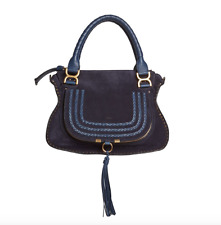 NEW $2350 CHLOE MARCIE MEDIUM SUEDE STUDDED SHOULDER STRAP SATCHEL NAVY BLUE