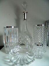 5-tlg.Konvolut Kristall Karaffe Vasen Schale Silber 800 Halbmond Krone
