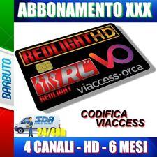 SCHEDA TESSERA ABBONAMENTO PER ADULTI 4 CANALI HD 6 MESI REDLIGHT VIACCESS XXX