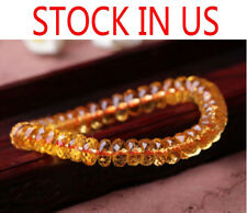 Natural Citrine Quartz Crystal Marquise Beads Wealthy Bracelet 7mm AAAA