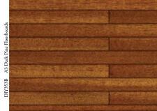 Dark Pine Floorboards Card, Dolls House Miniature Flooring, 1.12th Scale