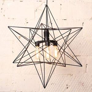 Loft Star 3 retro lamps  Chandelier, Living room, copper rods, black