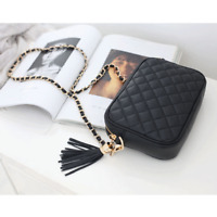 Womens Genuine Leather Mini Quilted Crossbody Tassel Zip Shoulder Bag 5855
