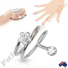 Silver Rhodium Plated Adjustable Nail Ring with Single Gem Flower