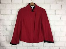 Chicos 0 Small Red 100% Wool Coat asymmetrical Mandarin Collar Jacket roll cuff