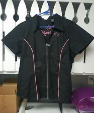 HARLEY DAVIDSON Womens Prestige Garage Shirt Black & Pink XXL 2XL SS Full Zip