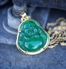 Mens Solid 14k Gold Green Jade Buddha Pendant Chain Necklace
