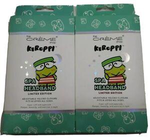 Keroppi Spa Headband Green Limited Edition Super Soft Creme Shop~~Lot of 2~~NEW.