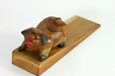 """Large Wooden Pig Door Stop 8"""" Handmade from Reclaimed Teak Wood"""