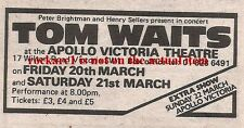 TOM WAITS UK TIMELINE Advert - Victoria Theatre,London 20-21 March 1981 3x2 inch