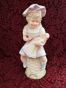 """Antique German Gebruder Heubach Large Bisque Girl Holding Doll 10"""" Gorgeous"""