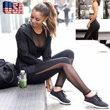 Women Fitness Leggings High Waist Yoga Pants Mesh Patchwork Skinny Push Up Tight