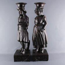 Paire de statue bois sculpté couple costume breton