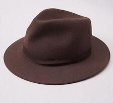 New KITON NAPOLI Light Brown Felt Rabbit Fur Fedora 7 1/8 (57cm) M Hat Cap