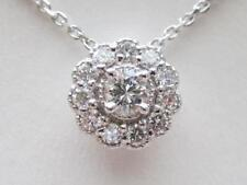 Modern 14k. White Gold Diamond Halo Pendant, New