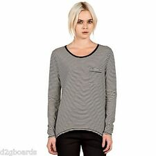 NWT VOLCOM 2016 Lived In Stripe Long Sleeve L/S Womens Shirt S Small  jx152