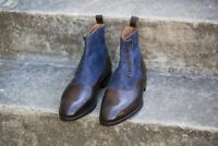 Handmade Men's Brown Leather &  Blue Tweed Buttons Boots