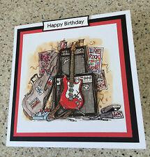 Handmade Happy Birthday 3D decoupage red electric guitar card rock music star
