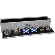 Set of 3 Scottish Cufflinks by Onyx Art - Gift Boxed - Scotland Scots Thistle