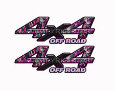 4X4 OFF ROAD PINK SKULL Obliteration Camo Decals Truck Stickers 2 Pack KM004ORBX