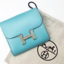 $3800 NUOVO Hermes Blu Atollo in pelle lucertola Constance Wallet Borsetta Clutch Bag