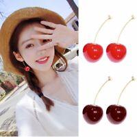 Fashion Women Sweet Red Cherry Fruit Simulation Earrings Ear Drop Stud Hot Gift