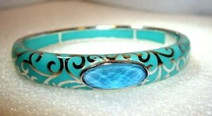 SOLID 925 STERLING SILVER & TURQUOISE ENAMEL BANGLE WITH GEMSTONE SET CENTRE