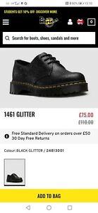 Dr Martens Size 8 Black Glitter Shoes