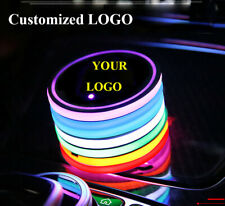 1Pair Customized LOGO LED Car Cup Holder Pad Mat Auto Coasters Atmosphere Lights