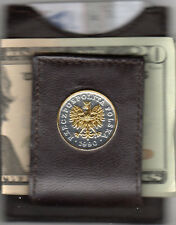 Leather Card Case / Money Clip Gold & Silver Polish Eagle with Crown 193Fcm