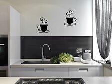2 Caffè Tè Tazze Cucina Adesivi da parete CAFE Vinile Arte Decalcomanie
