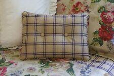 NEW Custom Ralph Lauren Surrey Garden Tattersall Accent Pillow 2 Button