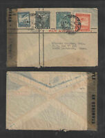 1945 CHILE to USA AIR MAIL COVER WW II EXAMINED BY TAPE STAMPS CANCELS