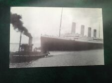 Postcard Titanic leaving dock with Tug Vulcan 1st day issue Marconi Radio Comms