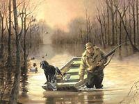 R.J.Mcdonld S/N Print Slippin In Duck Hunting Black Lab 21.5 x 16.5