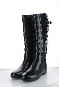 52-50 Women's Sz 9 M Hunter Quilted Rubber Rain Boots - Black