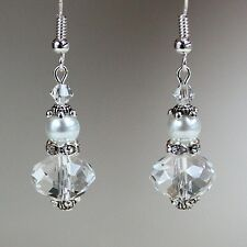 White pearls crystals vintage silver drop dangle wedding bridesmaid earrings