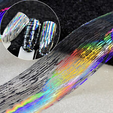 HOLOGRAPHIC SILVER STRIPES Nail Art Foil Transfer Glitter Stickers 3D Nails F...