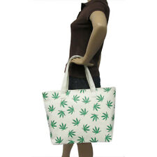NEW IVORY & GREEN WATER RESISTANT CANVAS WEED,CANNABIS LEAF TOTE,BAG