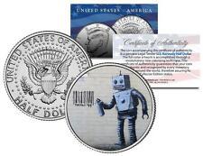 BANKSY * ROBOT TAGGING BARCODE * Colorized JFK Half Dollar U.S. Coin Street Art