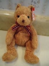 "TY Beanie Babies ""WOODY"" Soft Plush Brown Bear w/ Plaid Ribbon. 2002. 7.5"". NEW"